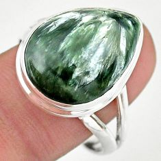 925 silver 13.73cts solitaire natural seraphinite (russian) ring size 10 t24714