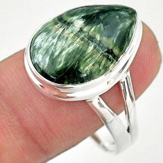 925 silver 13.50cts solitaire natural seraphinite (russian) ring size 11 t24707