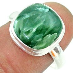 925 silver 6.72cts solitaire natural seraphinite (russian) ring size 8 t55073