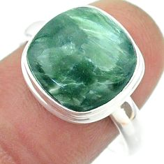 925 silver 6.80cts solitaire natural seraphinite (russian) ring size 8.5 t55128