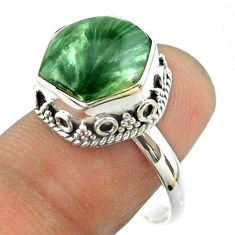 925 silver 6.58cts solitaire natural seraphinite hexagon ring size 8.5 t55888