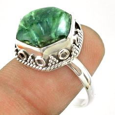 925 silver 6.59cts solitaire natural seraphinite hexagon ring size 8.5 t55900