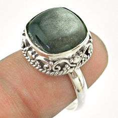925 silver 6.52cts solitaire natural sheen black obsidian ring size 7 t55876