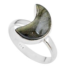 925 silver 5.71cts moon natural sheen black obsidian ring size 8 t22089