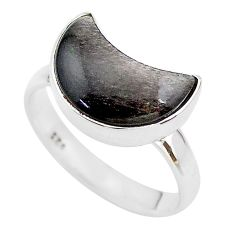 925 silver 5.80cts moon natural sheen black obsidian ring size 8 t22093