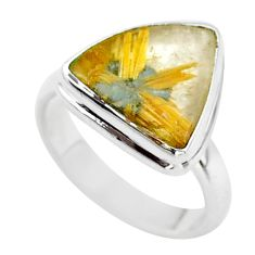 925 silver 11.23cts solitaire natural star rutilated quartz ring size 8 t39497