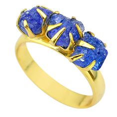 925 silver 7.85cts solitaire natural tanzanite rough 14k gold ring size 8 t29778