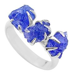 925 silver 8.56cts solitaire natural tanzanite raw fancy ring size 7 t17223