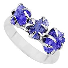 925 silver 7.63cts solitaire natural tanzanite raw fancy ring size 8 t17228