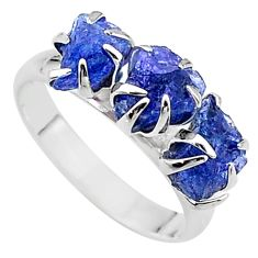 925 silver 6.73cts solitaire natural tanzanite raw fancy ring size 8 t17232