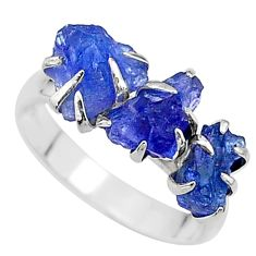 925 silver 7.66cts solitaire natural tanzanite raw fancy ring size 8 t17237