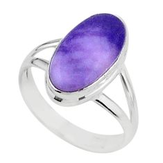 925 silver 5.21cts solitaire natural tiffany stone oval shape ring size 7 t15568