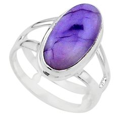925 silver 5.47cts solitaire natural tiffany stone oval shape ring size 7 t15573