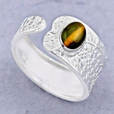 925 silver 1.43cts solitaire natural tiger's eye adjustable ring size 8 t47449