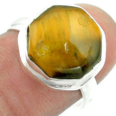 925 silver 6.02cts solitaire natural tiger's eye hexagon ring size 7.5 t55960