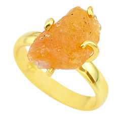 925 silver 6.19cts solitaire natural tourmaline rough gold ring size 6 t36908