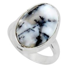 925 silver 11.57cts solitaire natural white dendrite opal ring size 5.5 r50404