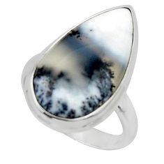 925 silver 15.65cts solitaire natural white dendrite opal ring size 8.5 r50412