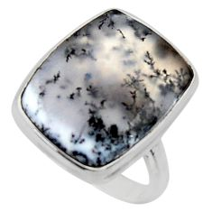 925 silver 15.02cts solitaire natural white dendrite opal ring size 8.5 r50416