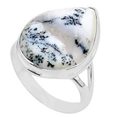 925 silver 15.85cts solitaire natural white dendrite opal ring size 11 t24688