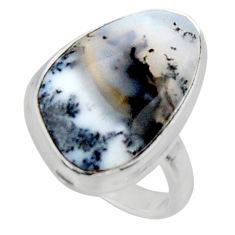 925 silver 13.15cts solitaire natural white dendrite opal ring size 6 r50388
