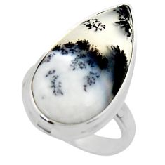 925 silver 14.47cts solitaire natural white dendrite opal ring size 6 r50394