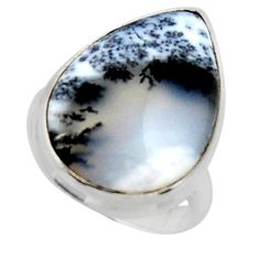 925 silver 14.72cts solitaire natural white dendrite opal ring size 6 r50413