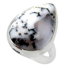 925 silver 14.40cts solitaire natural white dendrite opal ring size 7 r50417