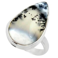 925 silver 16.20cts solitaire natural white dendrite opal ring size 8 r50397