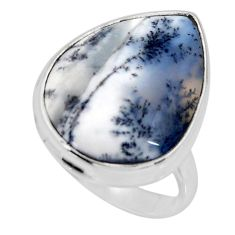 925 silver 15.65cts solitaire natural white dendrite opal ring size 8 r51210