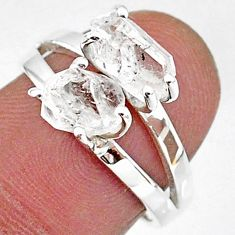 925 silver 5.64cts solitaire natural white herkimer diamond ring size 7 t7018