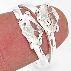925 silver 5.40cts solitaire natural white herkimer diamond ring size 7 t7032