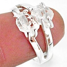 925 silver 5.40cts solitaire natural white herkimer diamond ring size 7 t7037