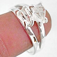 925 silver 5.11cts solitaire natural white herkimer diamond ring size 8 t7013