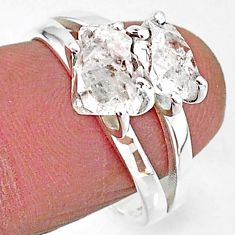 925 silver 5.64cts solitaire natural white herkimer diamond ring size 8 t7040