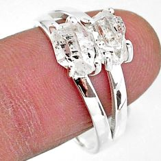925 silver 5.42cts solitaire natural white herkimer diamond ring size 9 t7024