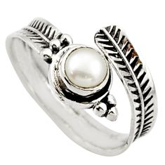 925 silver 0.87cts solitaire natural white pearl adjustable ring size 8 r40774