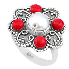 925 silver 5.57cts solitaire natural white pearl red coral ring size 8 t15509