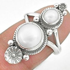 925 silver 6.04cts solitaire natural white pearl round flower ring size 6 t6437