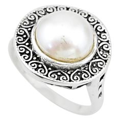 925 silver 4.91cts solitaire natural white pearl round shape ring size 7 t15492