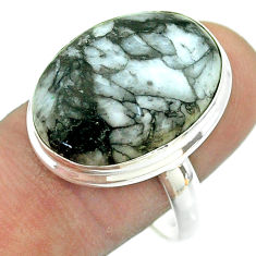 925 silver 15.47cts solitaire natural white pinolith oval ring size 10 t54198