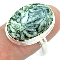 925 silver 15.29cts solitaire natural white pinolith oval ring size 10 t54226