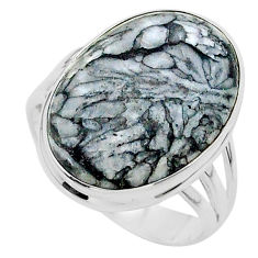 925 silver 17.23cts solitaire natural white pinolith oval ring size 11 t24630