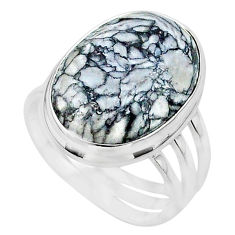 925 silver 20.77cts solitaire natural white pinolith oval ring size 11 t24639