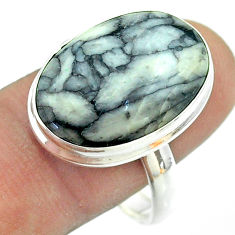 925 silver 14.72cts solitaire natural white pinolith oval ring size 11 t54195