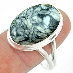925 silver 14.40cts solitaire natural white pinolith oval ring size 11 t54224