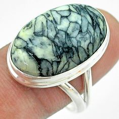 925 silver 15.47cts solitaire natural white pinolith oval ring size 9 t54203