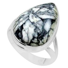 925 silver 17.57cts solitaire natural white pinolith pear ring size 10 t24637