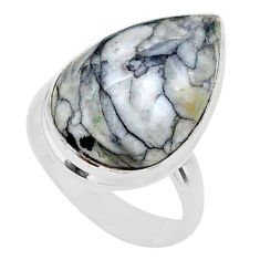 925 silver 9.99cts solitaire natural white pinolith pear ring size 6 t27700
