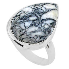 925 silver 13.70cts solitaire natural white pinolith pear ring size 9 t27689